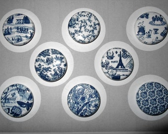 Navy Blue Toile Flair Buttons-YOU CHOOSE STYLE