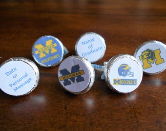 216 University of Michigan Chocolate Kiss Stickers-PRINTED FOR YOU