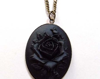 Gothic black rose cameo necklace. Gothic wedding. Gothic gifts for her. Gothic victorian jewellery.