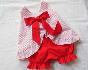 Ruffled Bow Back Swing Back Pinafore Top Bloomers Set baby or toddler - 3 mos to size 6 - Red White Swiss Dot