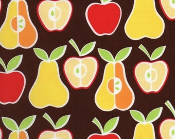 Brown Alexander Henry Apples + Pears Print 100% Cotton Quilting Fabric