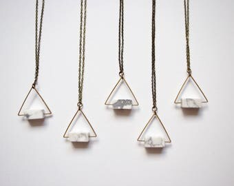 Howlite Brass Triangle Necklace