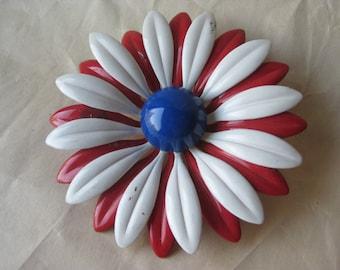 Daisy Flower Enamel Red White Blue Brooch Vintage Pin