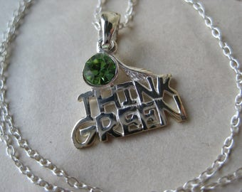 Think Green Rhinestone Sterling Necklace Silver Vintage Pendant 925