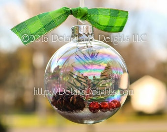 SALE!!! Natural Iridescent Opalescent Pine Woodland Glass Ornament, Round, Glitter Berry, Green Plaid Ribbon, Christmas Holiday Tree Decor