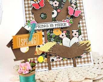 cottage birdhouse gift set-CARD and BIRDHOUSE SPOOL-Spring is here decor