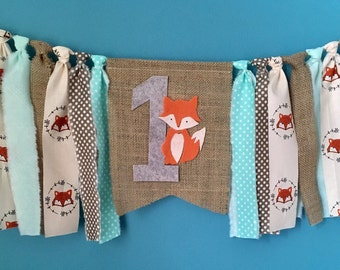 Fox Birthday Banner Woodland birthday banner high chair banner tribal camping wild one 1st fabric cske smash photo prop