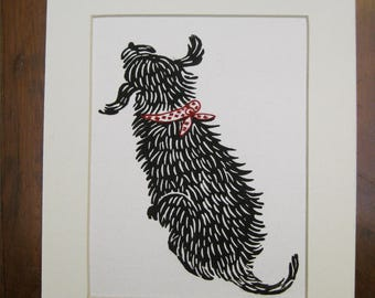 Good Dog original block print on bamboo paper with Mat board