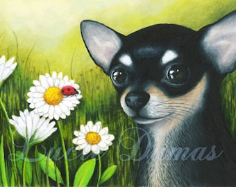 ACEO art print Dog 79 black Chihuahua, painting by Lucie Dumas