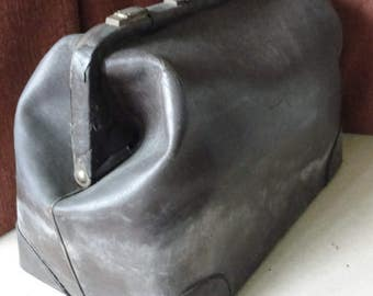 Vintage brown leather Doctor bag in poor condition for costume use