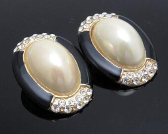 Large Pearl Rhinestone Earrings Vintage Jewelry Clip On Earrings E7587