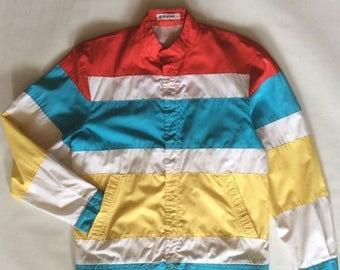 MOVING 4 GRADSCHOOL SALE 1960's windbreaker jacket, European, classic mod style, with wide stripe panels in red, blue, yellow, & white, men'