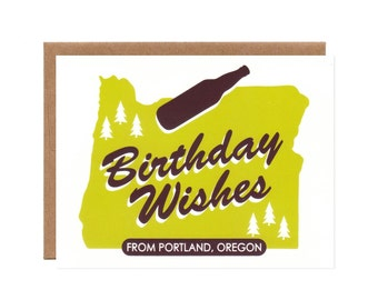 Birthday Wishes from Portland-- Fun Eco-friendly Folded Card