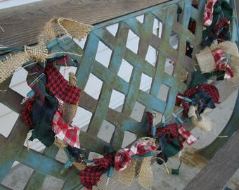 SALE 40% Off lighted christmas garland with or fabric and burlap 12 feet 50 lights winter plaids flannel