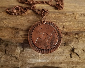Mountain Range Pendant, Copper Necklace, Hand Stamped, Rustic, Boho, Bohemian, Outdoors, Camping, Pine Trees,