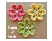 Small Flower Applique Crochet Pattern (DOWNLOAD) CNC36