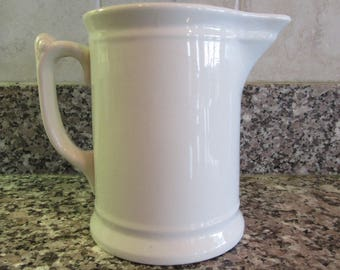 Beautiful solid old white ironstone milk pitcher- solid, weighty, KT&K