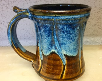 Movement mug, glazed in brown and blue, tea cup stoneware, handmade by hughes pottery
