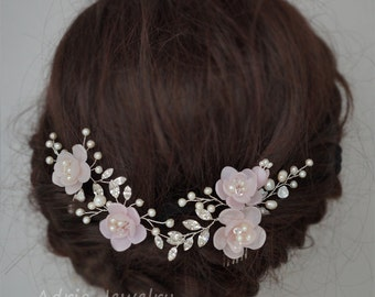 Pink Flowers Hair Pieces Wedding Headpieces Bridal Hair Accessories Wire Wrapped Hair Vines Crystals And Pearls Headpieces