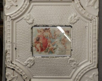 TIN CEILING Ivory Picture Frame 8x10 Shabby Recycled chic 542-16