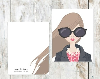 Portrait Stationery - Cotton Stationery - Brown Hair and Big Glasses Birthday Card - Excellent Bridal Gift