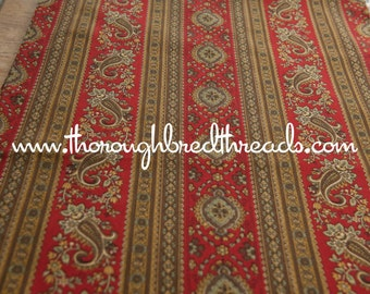 Stunning Paisley Stripe - Vintage Fabric 50s 60s New Old Stock Brown Gold Red