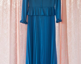 Vintage Gown -  Royal Blue Pleated 70s Accordion Pleats Pleated