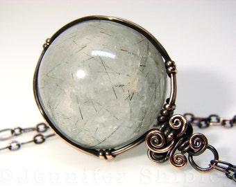 Actinolite Quartz Sphere Pendant Necklace: Witches Fingers Gemstone Crystal Ball, Wire-Wrapped, Nickel Free Copper, Thetis Hair Stone Orb