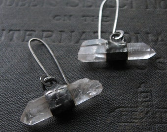 Underscore - Horizontal Raw Quartz Dangle Earrings - Sterling Ear Wires