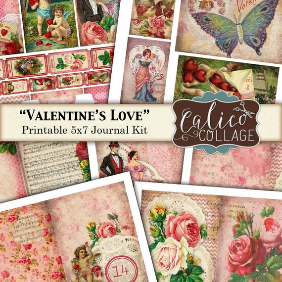 Valentines Love, Digital Journal Kit,  Printable Paper, 5x7 Journal Kit, Instant Download, Printable Ephemera, Floral Digital Paper