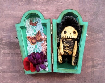 Wisteria - a little monster skelly doll with her own coffin