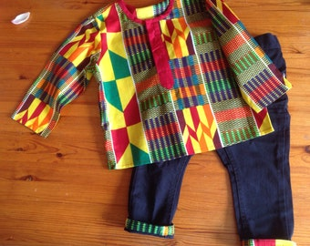 Boys' kente shirt and pants African ethnic outfit