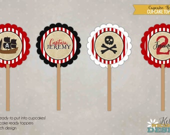 Custom Pirate Birthday Party Cupcake Toppers, Pirate Party Decorations #B128