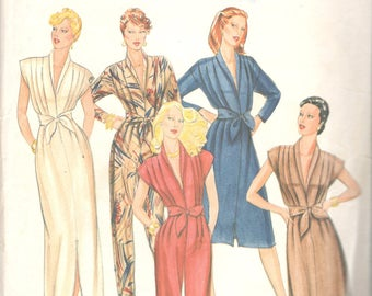1980s Butterick 4121 Misses Straight Leg JUMPSUIT and DRESS Pattern Low V Neckline Womens Vintage Sewing Pattern Size 8 Bust 31 Or 12 UNCUT