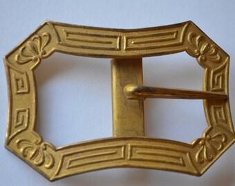 Edwardian Antique Belt Buckle by Colonial. Gold Tone similar to Octogon fleur de lis and scroll design