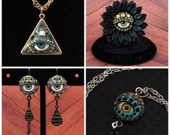 Custom eye Jewelry - Ring, Pendant Earrings or set - you choose color with vintage Swarovsi rhinestones - evil eye quirky and odd