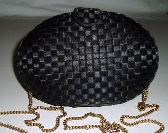 Whiting and Davis Black Evening Clutch, Saks Fifth Avenue Black Satin Basket Weave Shoulder Bag with Drop In Chain, Formal Hard Case Clutch