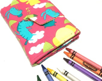 Play date crayon wallet, Kids coloring book, Animal crayon wallet, Toy storage, Crayon roll, Kids drawing book, Washable toy, Handmade toy