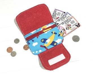 Airplanes | Fabric wallet | Money organizer | Cash system | Child's wallet | Wrist wallet | Boys wallet | Wallet for kids | ID holder
