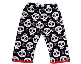 On SALE 40% OFF Dia De Los Muertos - Sugar Skull - Skull Clothing - Girls Pants - Punk Rock Clothing - Red And Black - Boys Pants - Baby Pan