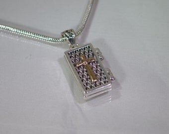 Pewter & Gold Prayer Box Necklace - Snake Chain - 18 inches - Magnetic opening - Silver Plated