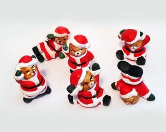 "Tiny Tumbling Christmas Bears 6 Little Santa Bears Painted Ceramic 1"" High Holiday Decor Mantel Sitters Vintage Cute Xmas Wee Teddy Bears"