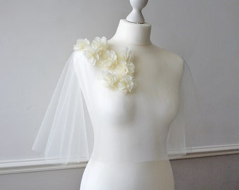 Chiffon flower tulle bridal capelet EMSWORTH