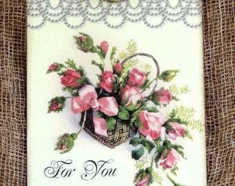 For You Floral Rose Flower Basket Gift or Scrapbook Tags or Magnet #397