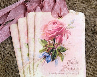 French Chocolate Pink Rose Gift or Scrapbook Tags or Magnet #280