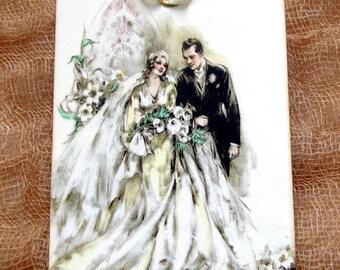 Vintage Style Bride & Groom Wedding Shower Favor Gift or Scrapbook Tags or Magnet #363