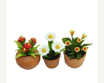 Value set, Miniatue Polymer Clay Flowers in ceramic pot, set of 3 pieces