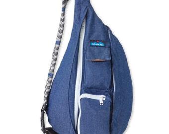 Monogrammed Kavu Rope Bags - Denim - Great gift for College, Teens, Women, Outdoors Satchel Crossbody Tote