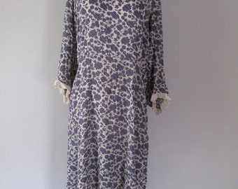 Sale - 30% - Vintage 1930s Dress - Leaves - 30s Dress - Blue White