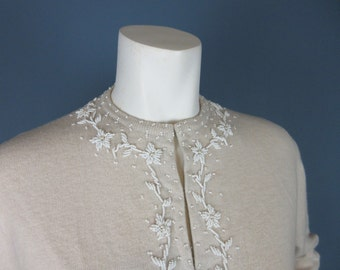 Vintage Mid Century Hand Beaded in Hong Kong Cardigan Sweater, Sz M